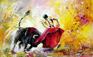 5 Bullfight Painting Corrida Toro 2010
